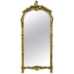 Louis XV French Rococo Style Gold & Silver Giltwood Italian Trumeau Mirror