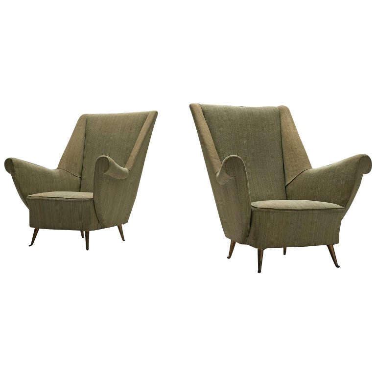 Pair of Elegant Wingback Chairs in Original Green Fabric