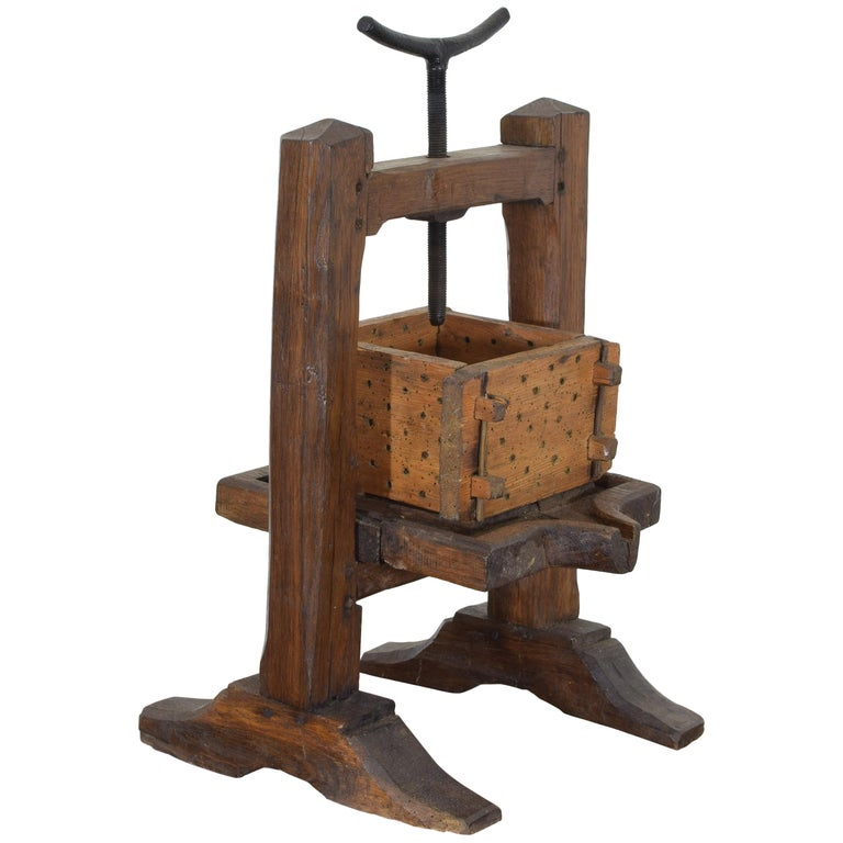 French Wooden and Iron Cheese Press, circa 1900
