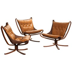 Three Camel Leather 'Falcon' Lounge Chairs or Easy Chairs by Sigurd Ressell