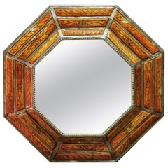 Hexagonal Orange Dye Camel Bone Mirror, Beveled