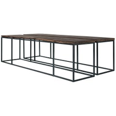 Pair of Overlength Custom Steel Frame Coffee Tables with Antique Oak Tops