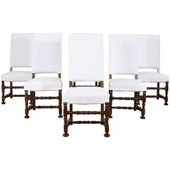Set of 6 French Walnut Louis XIII Style Dining Chairs