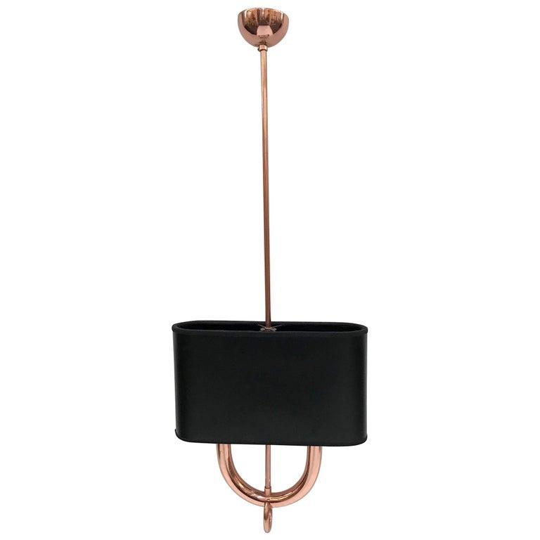 Italian 1930s Fascist Period Art Deco Copper Light Fixture