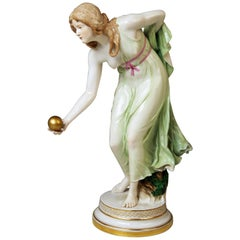 Meissen Art Nouveau Girl Playing Bowls by Walter Schott, circa 1900