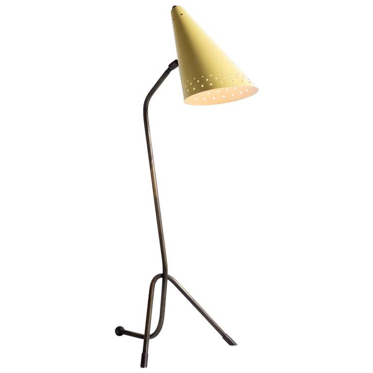 Brass and Metal Modern Table Lamp, circa 1950