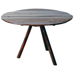 Rustic Oak Center Table with Tripod Base