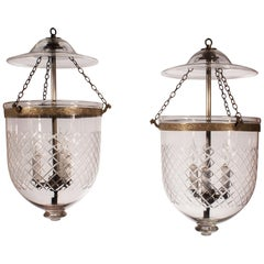 Pair of 19th Century English Bell Jar Lanterns with Diamond Etching