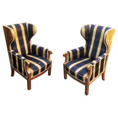 Pair of Old Walnut Veneered Wing Chairs