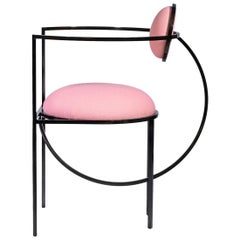 Lunar Chair in Pink Fabric and Bronze Metal by Lara Bohinc