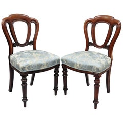 Pair of English Victorian Mahogany Balloon Back Dining or Library Side Chairs