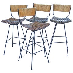 Vintage Set of 4 Arthur Umanoff Bar Stools