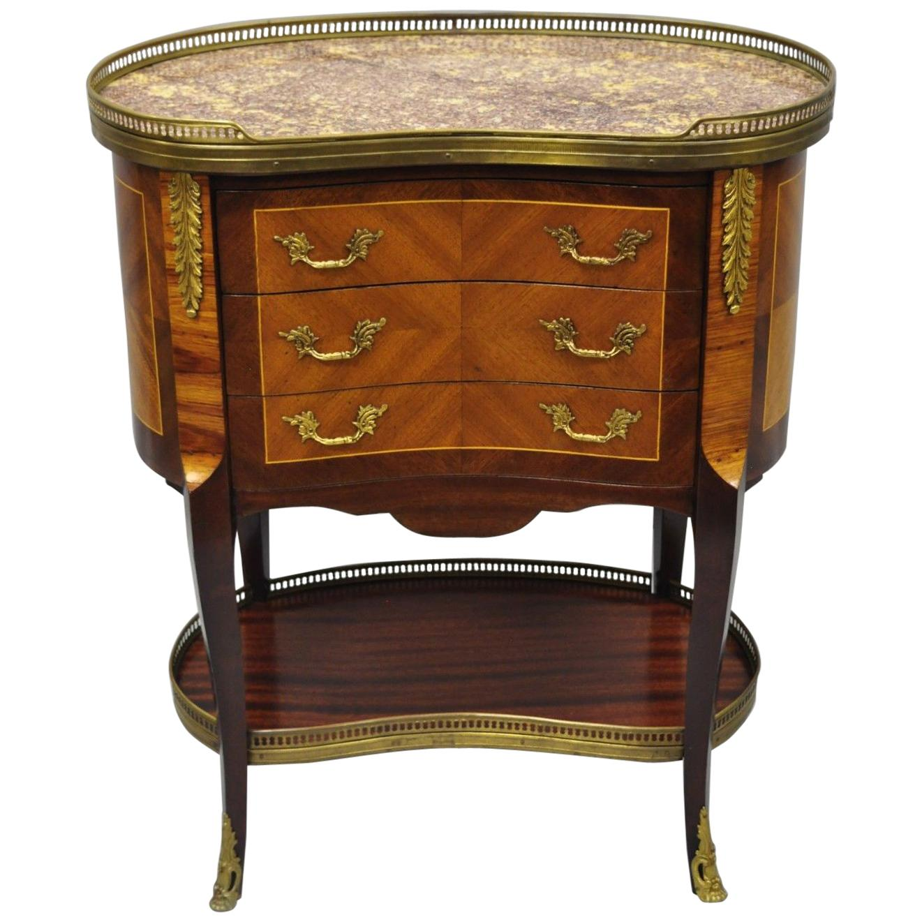 Louis XV French Style Kidney Shaped Marble Top Nightstand End Table