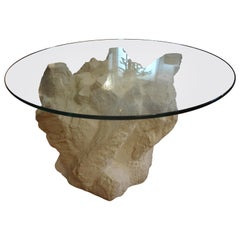 Pair of Postmodern Serge Roche Inspired Faux Rock Plaster Tables