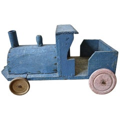 Blue Painted Wooden Toy Engine, French, 1920s