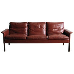 Hans Olsen Rosewood Sofa with Original Oxblood Leather