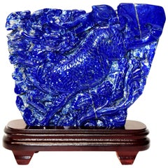 Lapis Lazuli Qi Lin Sculpture Statue, 1st Grade Natural