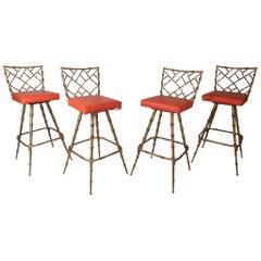 Mid-Century Modern Faux Bamboo Kessler Barstools