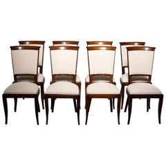 Set of Eight Midcentury Polished Beech Chairs with New Upholstery
