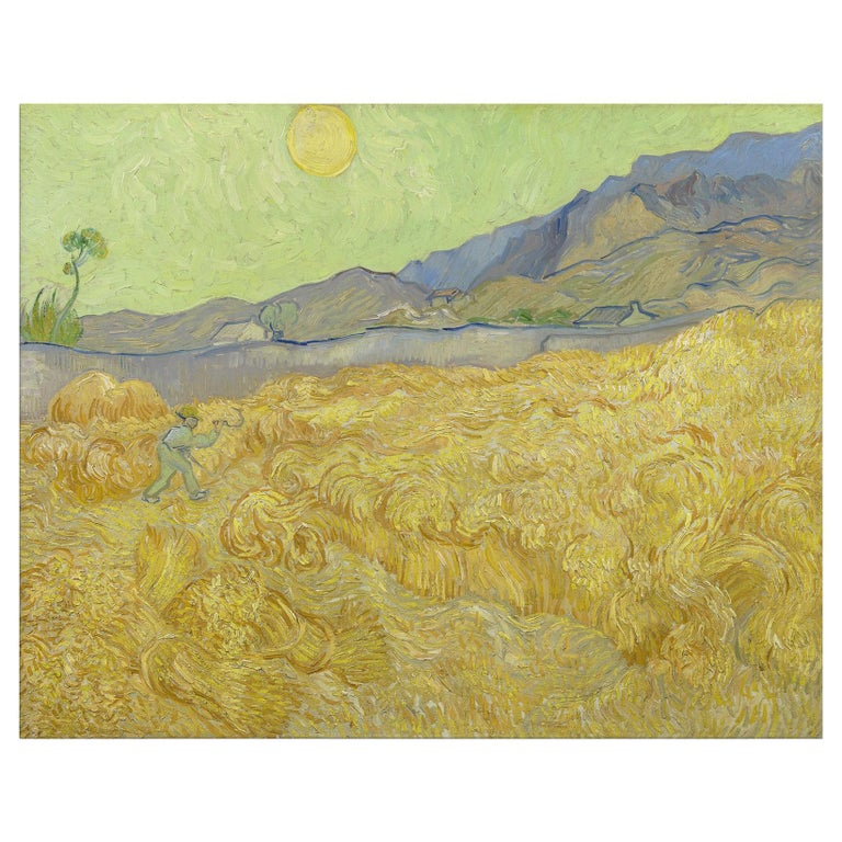 Wheatfield with a Reaper, after Impressionist Oil Painting by Vincent Van Gogh