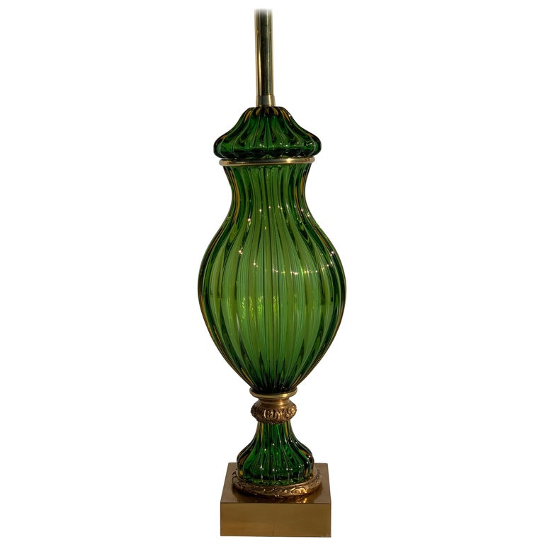Murano Seguso Green Glass Lamp for Marbro