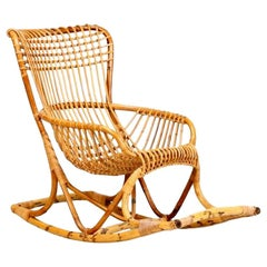 Bonacina Rattan and Bamboo Rocking Chair