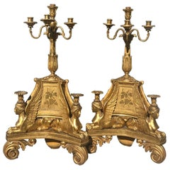 Pair of 18th Century Swedish Neoclassical Giltwood Candelabra