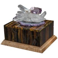 Studio Greytak 'Bling Box 2' Tiger Eye Box, Amethyst, Quartz, Walnut