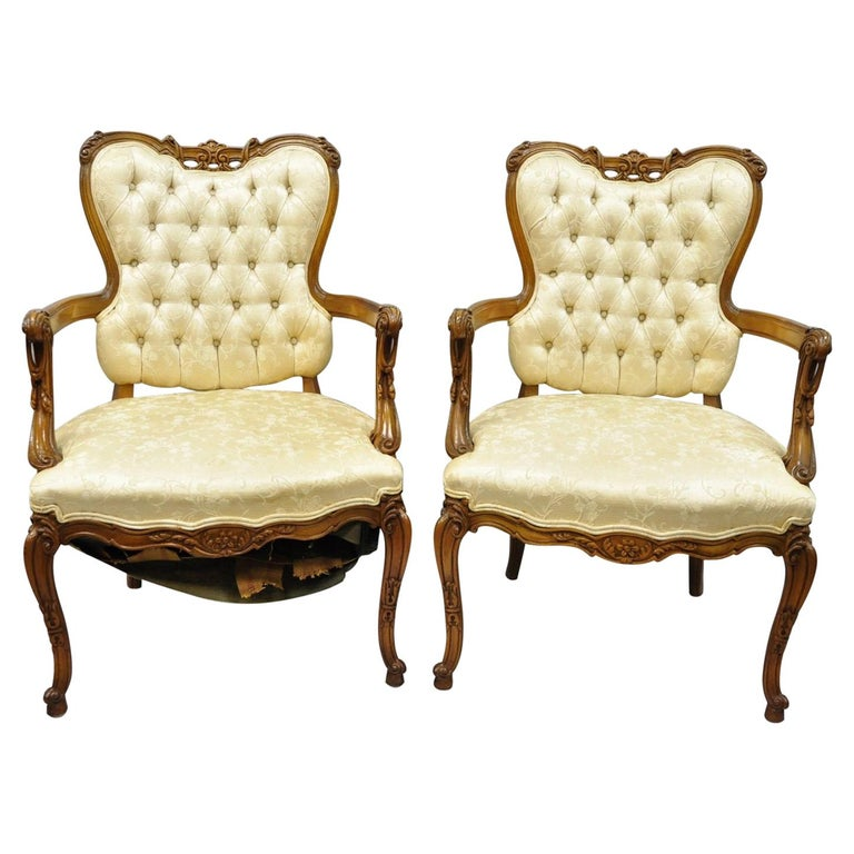 Pair of Hollywood Regency French Louis XV Style Carved Chairs Fireside Armchairs