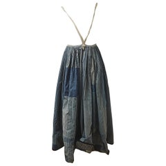 Indigo Cotton Patched Skirt French 19th Century