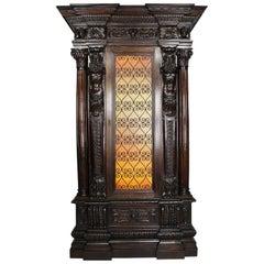 Italian 19th-20th Century Baroque Style Carved Walnut Wine Cellar Cabinet