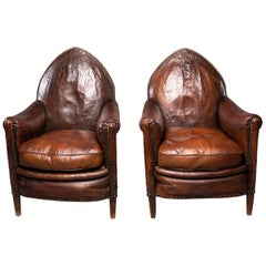 Pair of Dark Leather French Art Deco Club Chairs in Original Condition