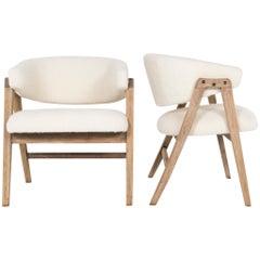 Pair of Dunbar Style Bleached Oak Barrel Chairs
