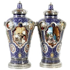 Pair of Mexican Jar, Ceramic and White Metal 'Alpaca', Handmade