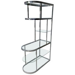 Mid-Century Modern DIA Attributed Chromed Metal and Glass Curved Front Étagère