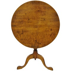 18th Century Antique Tiger Stripe Maple Tilt-Top Queen Anne Tea Table