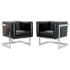 Mid-Century Modern Pair Chrome Black Leather Cube Lounge Armchairs Baughman