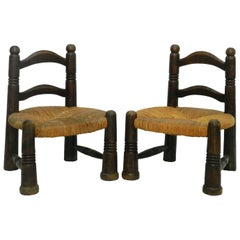 Pair Childrens Chairs Midcentury  Rush Seats in Manner of Charlotte Perriand