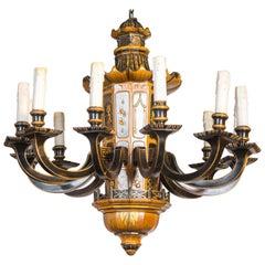 Vintage Jansen 12-Light Chinoiserie Chandelier
