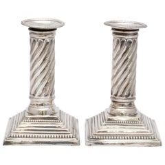 Victorian Sterling Silver Neoclassical Style Spiral Column-Form Candlesticks