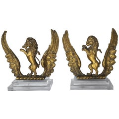 Pair of 19th Century Italian Giltwood Lions on Lucite Bases
