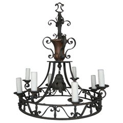 19th Century French Wrought Iron Chandelier with Wood Urn