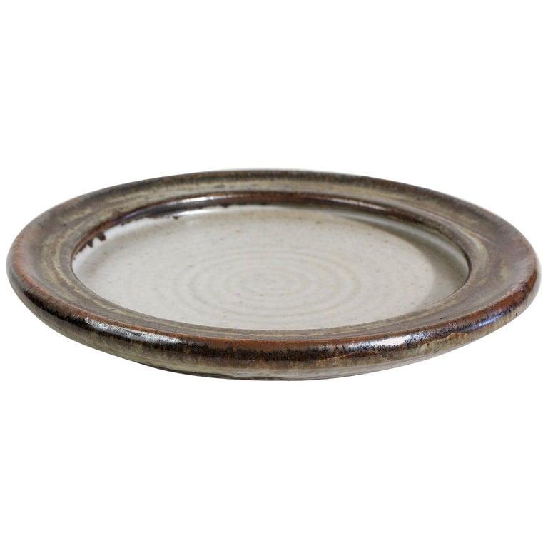 Vivika & Otto Heino California Studio Art Pottery Stoneware Low Bowl Plate For Sale