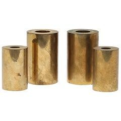 Set of 4 Swedish Metallslöjden Gusum Brass Candlesticks