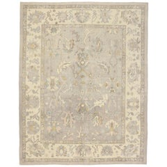 Rustic Farmhouse New Turkish Oushak Area Rug with Light, Neutral Colors