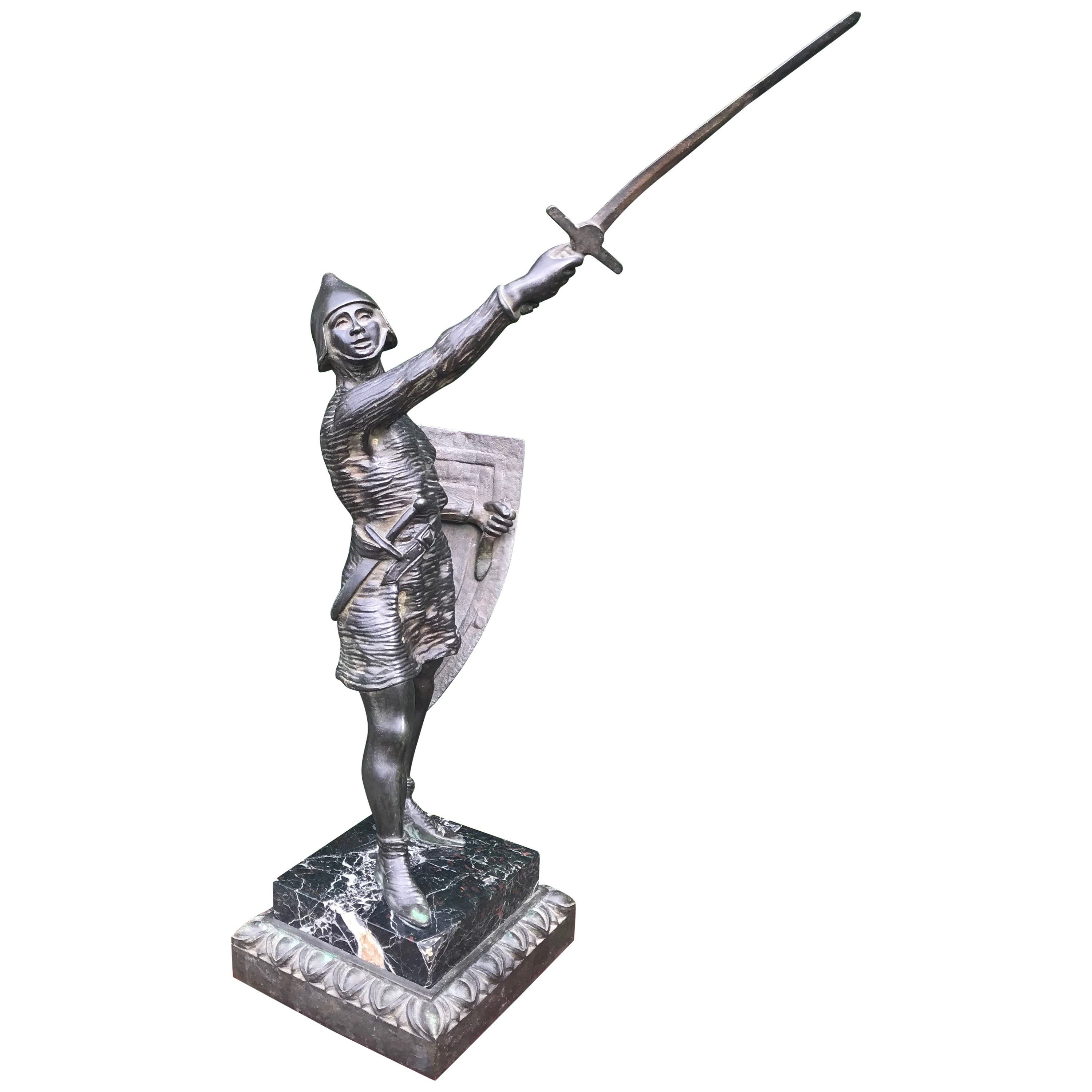Stunning Antique Bronze Sculpture of a Sword Holding Joan of Arc in Chainmail