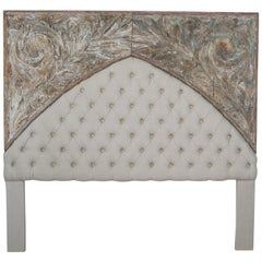19th Century Italian Painted and Linen King Size Headboard