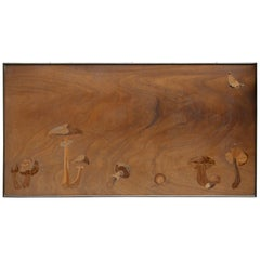 Inlaid Wooden Panel with Mushrooms and a Butterfly, Signed Christian Dior Paris