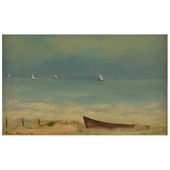 Poul Hansen 1918-1987, Oil on Board, Sail Boats at Sea, Signed Poul Hansen