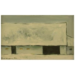Poul Hansen 1918-1987, Oil on Board, House in Winter Landscape